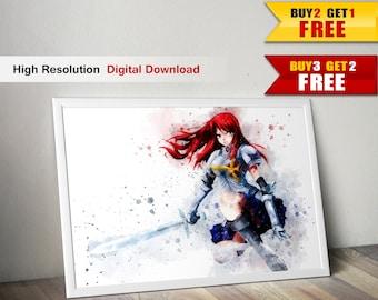 erza scarlet, fairy tail, digital painting, anime art, manga art, anime print, printable poster,watercolor digital print