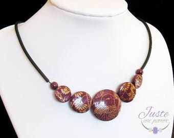 Necklace polymer clay Burgundy, gold plated bird patterns