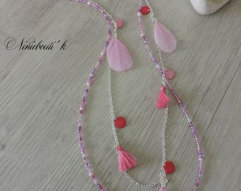 Necklace beads and feathers pink Boho chic, necklace