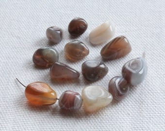 10 beads Nugget of Botswana Agate natural 8-12 x 7 to 11mm LBP00290