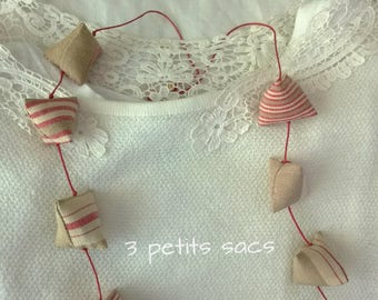 Necklace berlingots fabric stripes red/taupe/ecru mattress on cotton