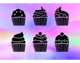 Cupcake SVG bundle, cake svg, sweets svg, treats svg, fairy cake svg, dxf svg clipart cut file, svg silhouette files, svg files for cricut