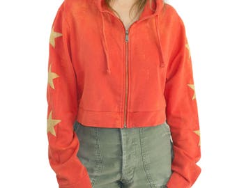 Cropped star patch zip-up hoodie