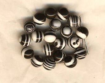 Twenty black and white beads, pattern polkadot circles and lines, 6 mm, black and white beads, jewelry supplies