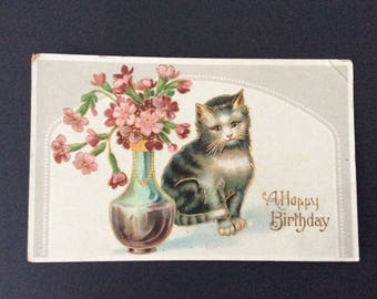 Antique 1900s Post Card Happy Birthday Cat / Postcard / Stamp / Smash Book / Journals / Cards/ Greeting Card / Ephemera