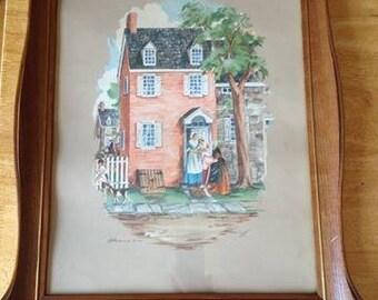 Vintage lithograph/Vintage litho/lithograph/vintage/Vintage box/Frame vintage/landscape/Wall decor/Home Decor