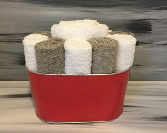Red Bathroom Towel/Wash Cloth Bin with 1 white hand towel, 5 white and 5 gray wash cloths