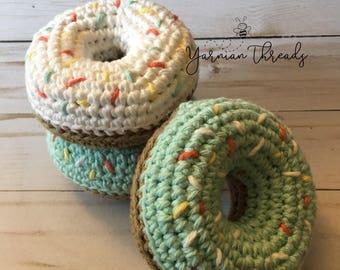 Plush crochet sprinkle doughnut