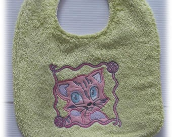 GIRL CAT COTTON AND TERRY BIB