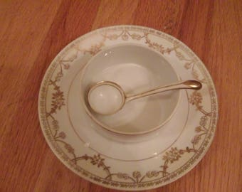 Nippon Handpainted Condiment Dish with Ladle