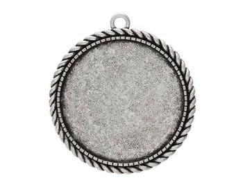medium silver round cabochon 46 x 42 mm