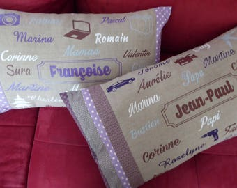 Cushion personalised with names, words to your liking and fabrics to choose