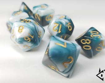 "DnD Dice Set Teal and White, Gold ""Cthulhu's Dream"" Polyhedral dice, D&D dice, Dungeons and Dragons, Pathfinder, Critical Role Roll D20 RPG"