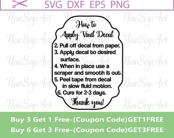 Decal Directions Svg Etsy - Custom vinyl decal application instructionscare card printable care card instructions printable care