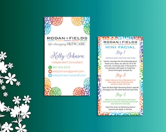 Rodan and Fields Business Cards,  Rodan and Fields Mini Facial Card, Fast Personalized, Modern Business Cards RF01
