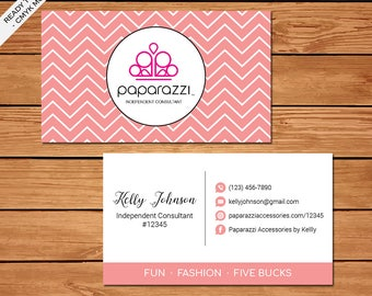 Paparazzi Business Card, Custom Paparazzi Accessories Business Card, Fast Free Personalization, Printable Business Card PZ05