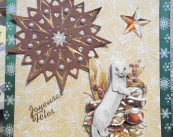 card 3D weasel in winter on Star embroidered dress