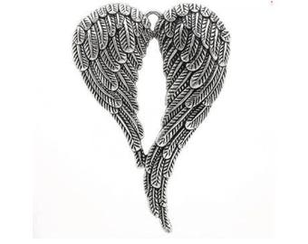 A, wings, silver metal pendent, 6, 9 x 4, 7 mm, hole 4.8 mm