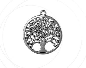 Round pendant, silver, tree, 34 mm diameter, thickness 2 mm, 2.3 mm hole