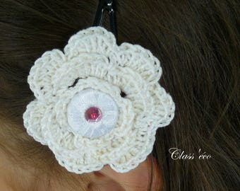 pins in white cotton crochet flowers