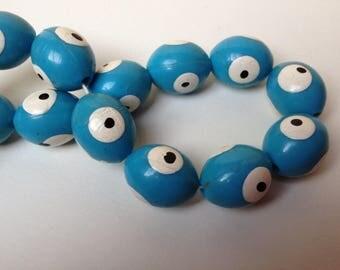 Set of 2 large turquoise beads lucky Turkish eye