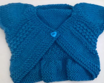 Hand knitted and crocheted entrechat baby shrug cardigans (0-3 months)