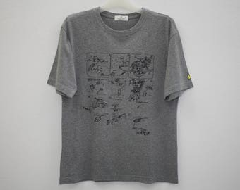 Jean Michel Basquiat Space Pork Gray Cotton T Shirt Size M