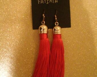 Red tassel earring