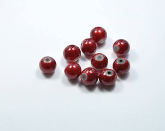 PE382 - Set of 10 magical Red 10mm glass beads
