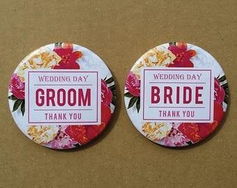 Wedding Button Pins - Floral Garden Groom & Bride