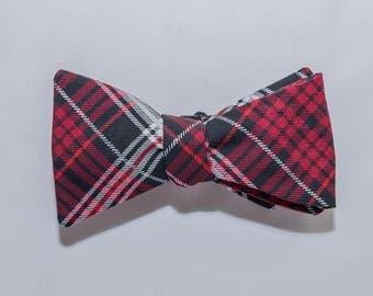 Red Plaid Self-tie Bow Tie