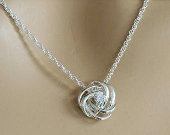 925 Silver Knot Pendant, Silver Knot Necklace, Knot Jewelry, Knot Jewellery, Love Knot Necklace, 925 Sterling Silver Knot Necklace