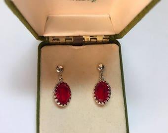 Ruby Red Vintage Drop Earrings