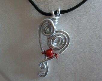 Handmade black wire heart pendant necklace.