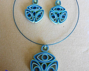 Geometric blue and green gradient quilling ornament