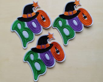 A dozen - 12pcs - Halloween BOO Embroidered Iron on Patch Applique