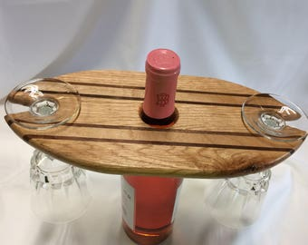 Oak wine bottle and wine glass holder.