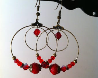 Earrings double circle and red beads