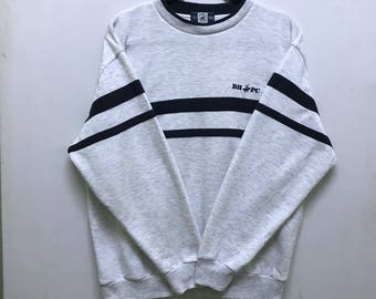 Rare!!! Beverly Hills Polo Club Long Sleeve Pullover Small Logo Short Spellout Embroidered Stripes