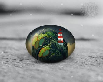 Island, Lighthouse, illustration, 18x25mm 30x40mm, Oval Glass Cabochon, from Diana's Magic Shop