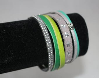 Green and grey Cuff Bracelet for women