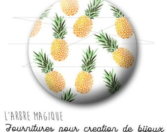 Cabochon 25 mm pineapple fruit fantasy exotic ref 1745