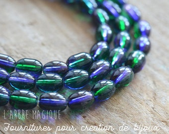Glass beads oval bi color: Green x 20