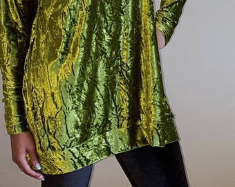 Crushed velour polo neck long tunic style top. Including FREE shipping