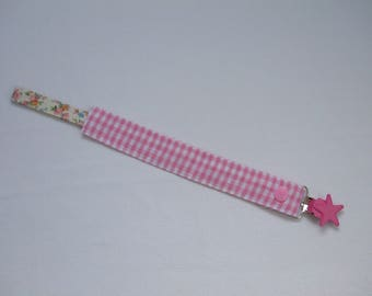 Pink gingham fabric pacifier clip