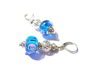 Vintage earrings 925 sterling silver, blue murano glass beads