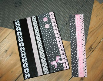 wedding honeymoon notebook and his Cookbook bookmark pink black and white lace