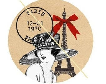 30mm, woman vintage eiffel tower, red bow