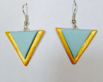 Pastel blue and gold geometric earrings