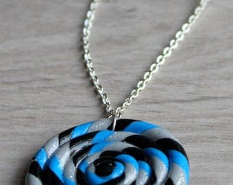 """Silver tone necklace with pendant """"licorice"""" with polymer clay"""